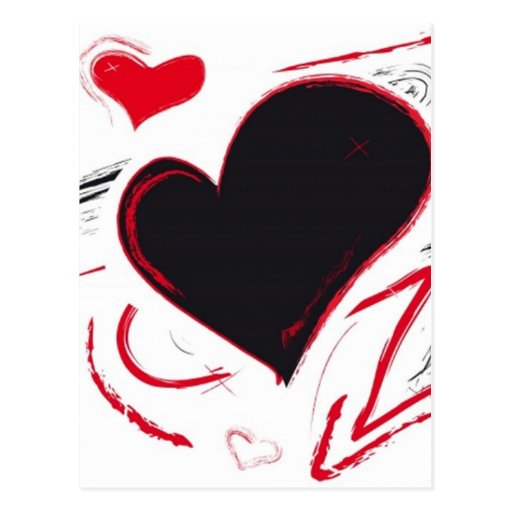 Red-Black heart abstract Postcard