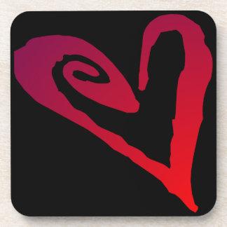 Red Black Heart Cork Coaster