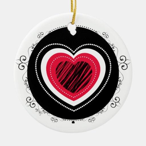 Red & black heart - ornament