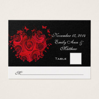 Red & Black Heart Roses Butterfly Table Place Card