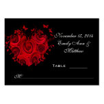 Red & Black Heart Roses Butterfly Table Place Card Business Cards