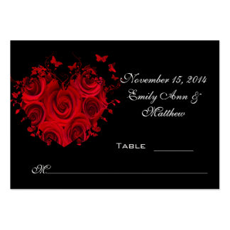 Red & Black Heart Roses Butterfly Table Place Card Large Business Cards (Pack Of 100)