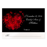 Red & Black Heart Roses Butterfly Table Place Card Business Card Templates