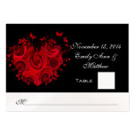 Red & Black Heart Roses Butterfly Table Place Card Business Card