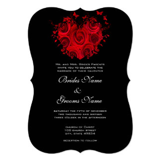 Red & Black Heart Roses Butterfly Weddings Card