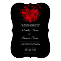 Red &amp; Black Heart Roses Butterfly Weddings Personalized Invitation (<em>$3.60</em>)