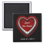 Red & Black Heart Save the Date Magnet