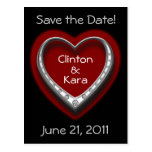 Red & Black Heart Save the Date Wedding Postcard