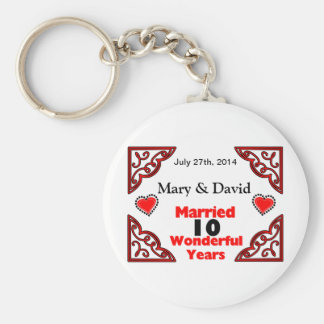 Red Black Hearts Names & Date 10 Yr Anniversary Keychain