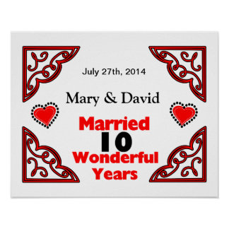 Red Black Hearts Names & Date 10 Yr Anniversary Poster