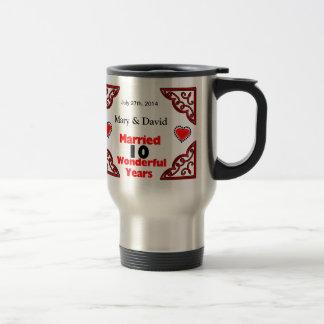 Red Black Hearts Names & Date 10 Yr Anniversary Travel Mug