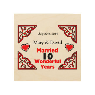 Red Black Hearts Names & Date 10 Yr Anniversary Wood Wall Art