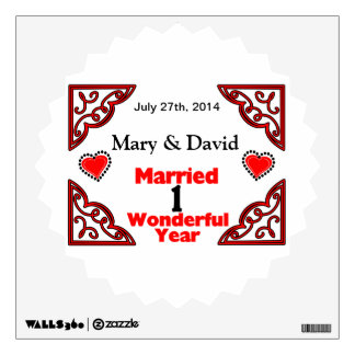 Red Black Hearts Names & Date 1 Yr Anniversary Wall Decal
