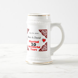 Red Black Hearts Names & Date 20 Yr Anniversary Beer Stein