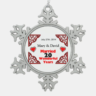 Red Black Hearts Names & Date 20 Yr Anniversary Ornaments