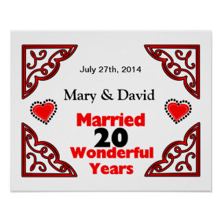 Red Black Hearts Names & Date 20 Yr Anniversary Poster