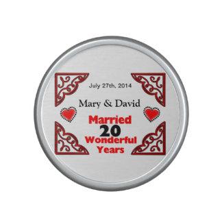 Red Black Hearts Names & Date 20 Yr Anniversary Speaker