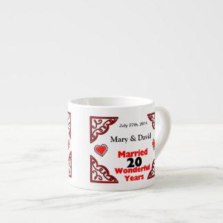 Red Black Hearts Names & Date 20 Yr Anniversary 6 Oz Ceramic Espresso Cup