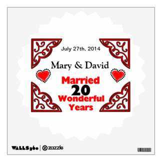 Red Black Hearts Names & Date 20 Yr Anniversary Wall Sticker