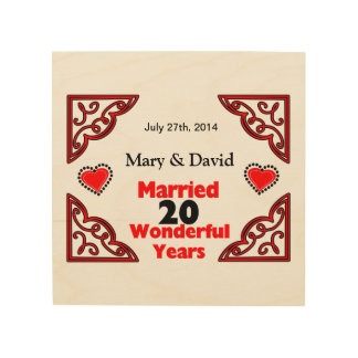 Red Black Hearts Names & Date 20 Yr Anniversary Wood Wall Decor