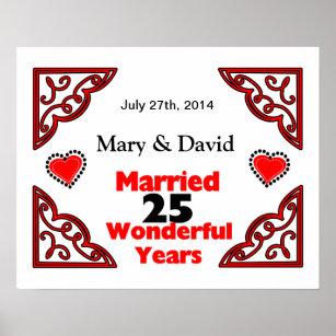 25th wedding anniversary posters photo prints zazzle