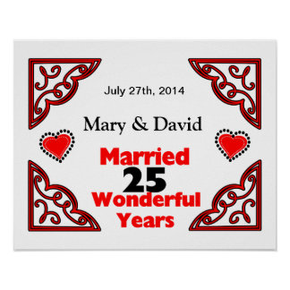 Red Black Hearts Names & Date 25 Yr Anniversary Poster