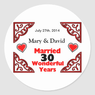 Red Black Hearts Names & Date 30 Yr Anniversary Classic Round Sticker