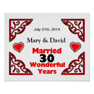 Red Black Hearts Names & Date 30 Yr Anniversary Poster