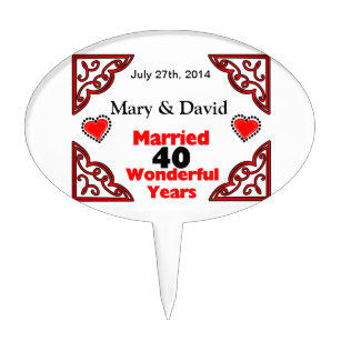 40 year anniversary cake toppers zazzle