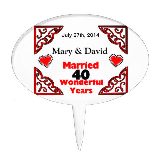 Red Black Hearts Names & Date 40 Yr Anniversary Cake Topper