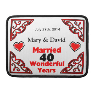 Red Black Hearts Names & Date 40 Yr Anniversary MacBook Pro Sleeve