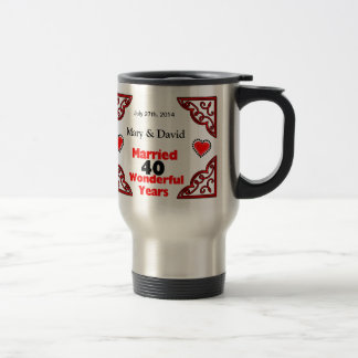 Red Black Hearts Names & Date 40 Yr Anniversary 15 Oz Stainless Steel Travel Mug