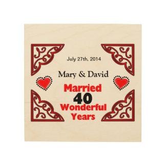 Red Black Hearts Names & Date 40 Yr Anniversary Wood Print