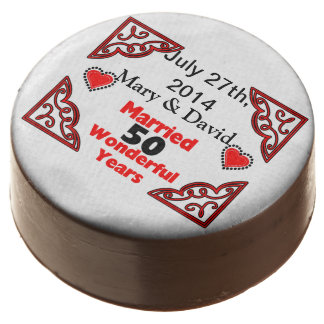 Red Black Hearts Names & Date 50 Yr Anniversary Chocolate Dipped Oreo
