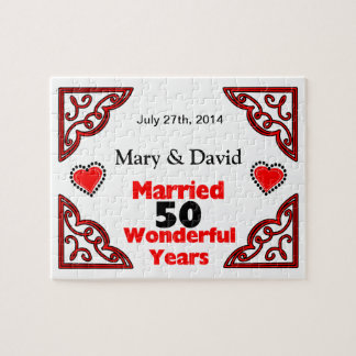Red Black Hearts Names & Date 50 Yr Anniversary Jigsaw Puzzle