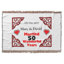 Red Black Hearts Names & Date 50 Yr Anniversary Throw