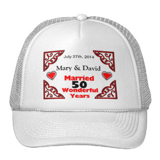 Red Black Hearts Names & Date 50 Yr Anniversary Trucker Hat