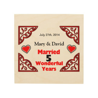 Red Black Hearts Names & Date 5 Yr Anniversary Wood Wall Decor