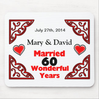 Red Black Hearts Names & Date 60 Yr Anniversary Mouse Pad