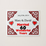 Red Black Hearts Names & Date 60 Yr Anniversary Jigsaw Puzzle