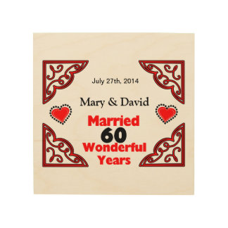 Red Black Hearts Names & Date 60 Yr Anniversary Wood Wall Art
