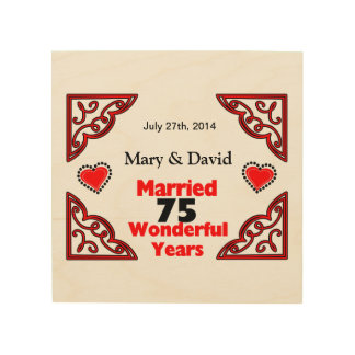 Red Black Hearts Names & Date 75 Yr Anniversary Wood Wall Art