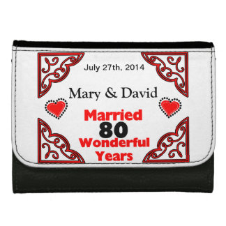 Red Black Hearts Names Date 80 Yr Anniversary Wallets