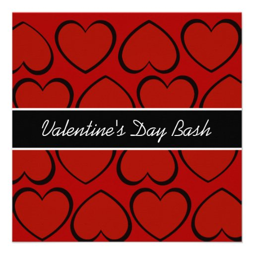 Red Black Hearts Valentines Day Party Invitations