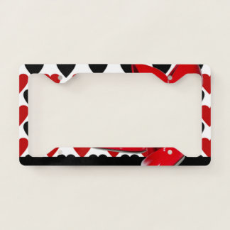 Red & Black Hearts With Red High Heels License Plate Frame