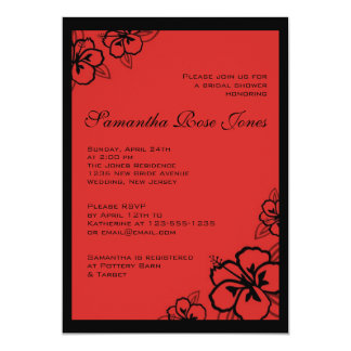 Red & Black Hibiscus Flowers Bridal Shower Card