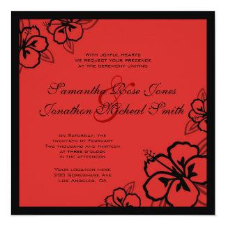 Red & Black Hibiscus Flowers Custom Wedding Card