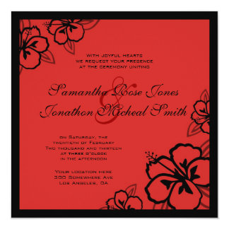 Red & Black Hibiscus Flowers Custom Wedding Custom Announcement