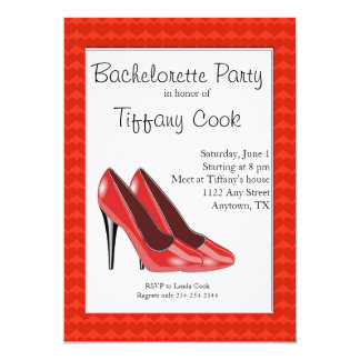 Red & Black High Heel Bachelorette Party Invite