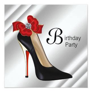 Red Black High Heel Shoe Birthday Party 5.25x5.25 Square Paper Invitation Card